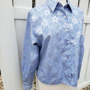 Foxcroft Metallic Silver Blue Floral Blouse